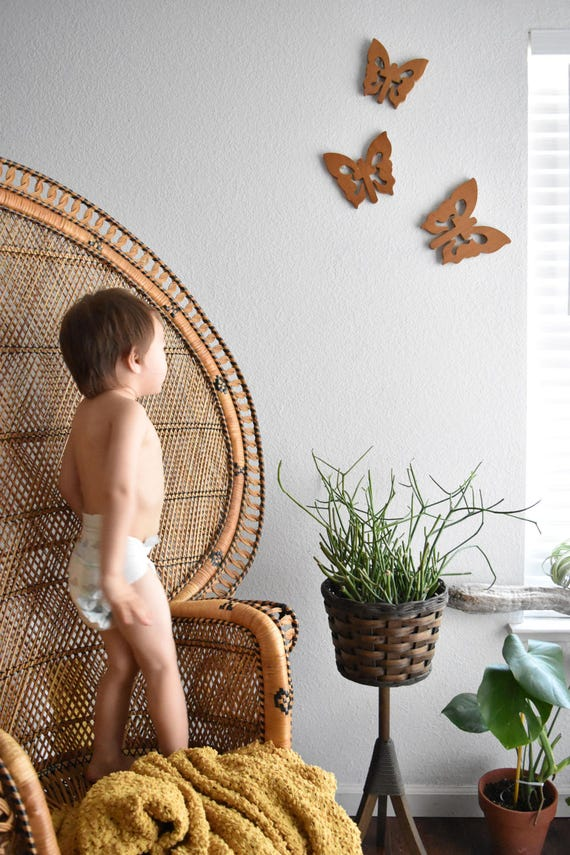 carved wooden butterfly wall hanging set