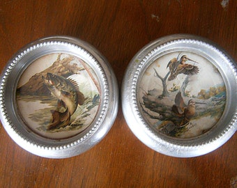Pair Of Vintage Aluminum Coasters 1950's / Bird Coaster / Fish Coaster / Outdoor Scene / Field and Stream Coasters