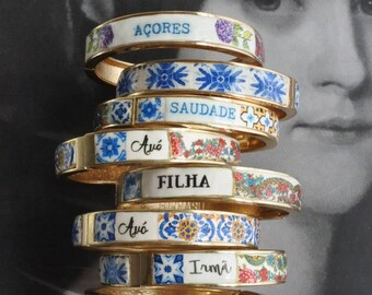 Personalized  BRACEleT Custom Bangle Portugal Tile  Grandma Mae Mom Mamã Avó Vovó Tia Sister Madrinha Atrio Ships from USA MADE to ORDER
