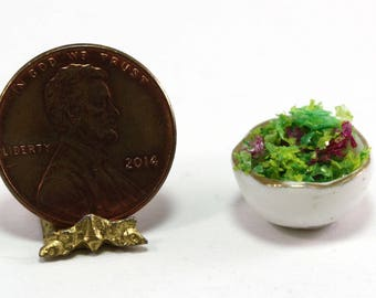 Dollhouse Miniature Fresh Garden Spring Mix Greens in a Bowl
