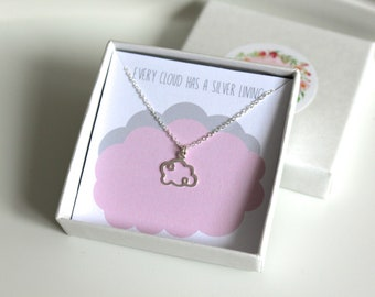 Cloud necklace // dainty sterling silver necklace // every cloud has a silver lining