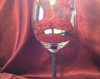 Rocky horror picture show themed glitter wine glass