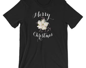 White Poinsettia Merry Christmas T-Shirt plus size clothing sizes S to 4XL classic simplicity in a Christmas shirt