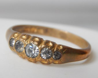 edwardian ring in rolled gold and clear paste