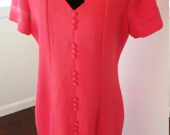 On Sale 1940 1950 1960 1970 long pink short sleeve tie back maxi dress