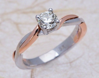 Diamond Engagement Ring / Solitaire Engagement Ring / Two Tone Engagement Ring / 0.50 Carat Center Stone