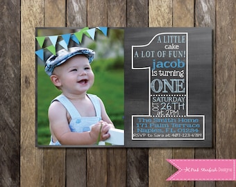 Chalkboard first birthday invitation with picture chalkboard chalkboard first birthday invitation chalkboard birthday invitation with picture one 1st birthday invitation filmwisefo