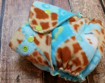Fleece Size One All-Nighter Overnight Hybrid Fitted Cloth Diaper Patchwork Giraffe 8-20 lbs RTS