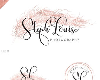 wedding logo, feather logo, photography logo watermark,  birds logo watermark, wedding planner, writer logo, gold logo, rose gold logo, 095