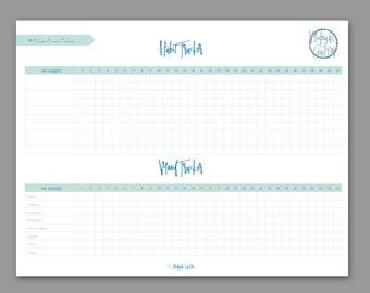 BLUE Habit and Mood Tracker // PRINTABLE // High Quality Digital download PDF