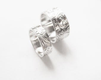 Patterned Wedding Bands - Sterling Silver Wedding Band Set, Matching Rings, Promise Rings, Couples Rings, Promise Rings for Couples