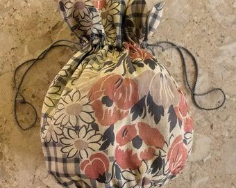 Vintage Cotton Drawstring Bag, Circa 1940/50