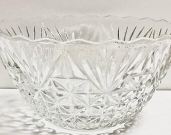 Anchor Hocking Arlington Punch Bowl Set 12 Cups Ladle Hooks Vintage Punch Set 26 Pieces Vintage Clear Glass