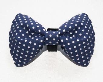 Dog Bow Tie Blue and white Polka Dot, Dog Collar Accessories, Pet Supplies, Pet Collar, Dog Collars, Unique Pet Collar Attachments