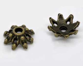 40 Flower Bead Caps 8 Petal Filigree Flower Cap 9x3.5mm Antique Bronze for 10mm to 16mm beads F391