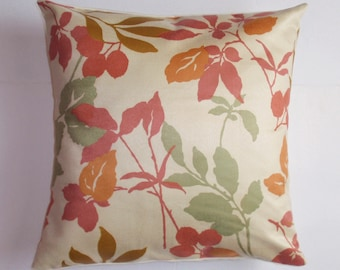 Handmade Removable Throw Pillow Cover, Pretty Autumn Leaf Accent Pillow Cover, Soft Colorful Leaves in Rose Cushion Cover, Autumn Home Decor