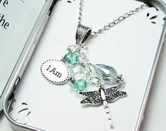 Motivational Necklace. Dragonfly Charm Necklace. Inspirational Message Charm. Intention Necklace NKL021