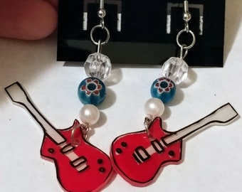 Guitar Shrinky Dink Earrings