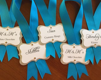 Blue & Silver Glitter Candy Tags