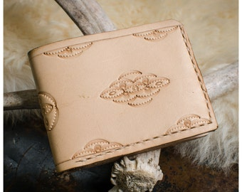 Lace tooled vegetable tan leather bifold wallet