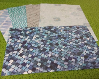 Large Handmade Paper Envelopes - Set of 5 in Shades of Blue