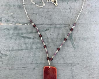 Mahogany Red Glass Sterling Silver Beaded Pendant Necklace
