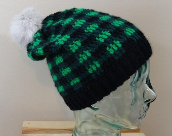 Baggy Green Plaid Winter Hat --Adult