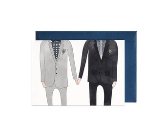 Wedding Gay Couple Illustrated Greeting Card