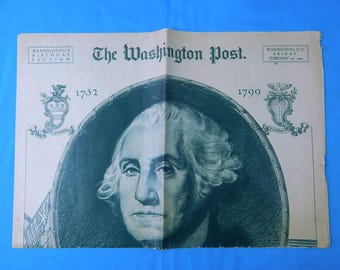 Vintage February 22 1924 Washington Post Washington's Birthday Collectable Newspaper Historical Memorabilia Gift for Him
