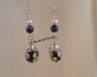 Dark Blue Lampglass Earrings