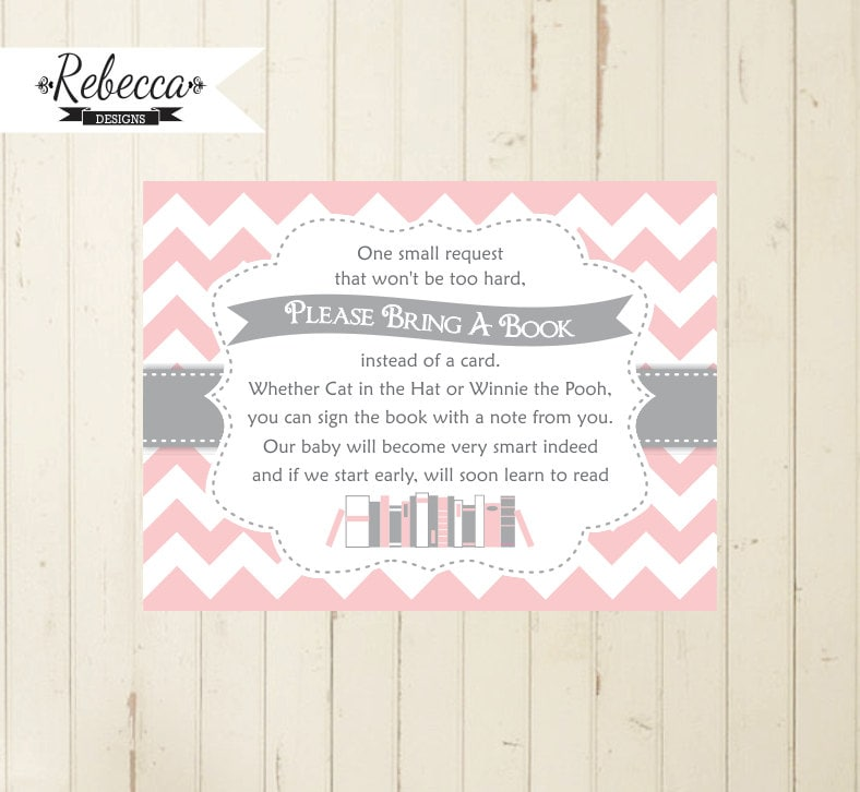 Baby Shower Book Insert Bring A Book Card Printable Bring A