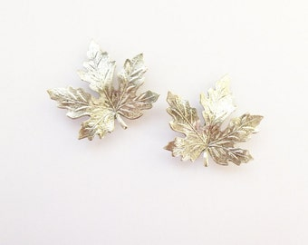 Silver Maple Leaf Barrettes Bridal Hair Clip Bridesmaid Nature Inspired Autumn Fall Rustic Woodland Wedding  Accessories Womens Gift For Her