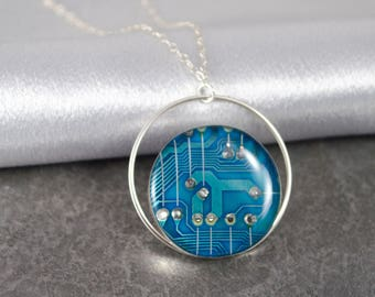 Circuit Board Necklace Blue, Sterling Silver Jewelry, Geek Gift for Her, Wearable Technology, Artisan Industrial Necklace, Geek Chic Jewelry