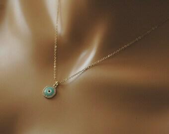 Evil Eye, White and Light Blue Enamel Evil Eye Necklace, Crystallized evil eye, Gift for her, Good luck charm, Holiday Gift