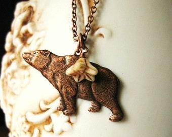 Copper Bear Necklace Vintage Little OSITO