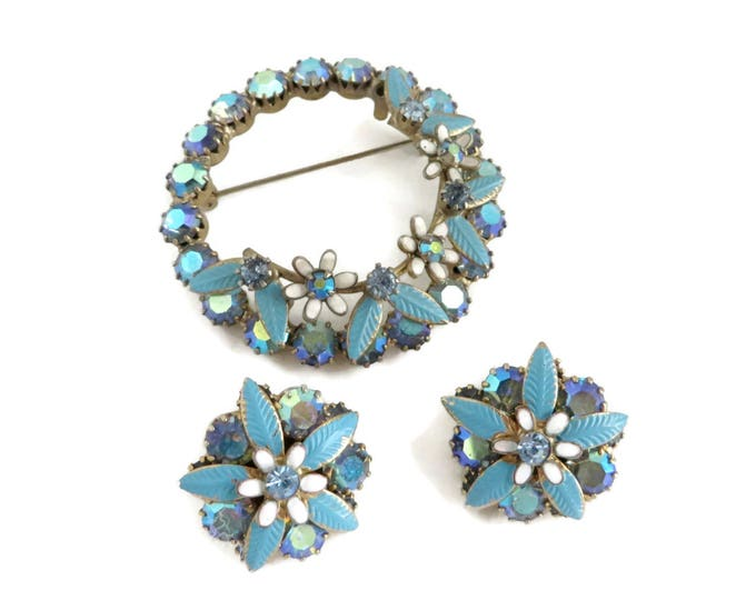 Blue Brooch Set, Vintage Earrings, Circle Brooch, Blue Jewelry Set, Weiss Jewelry, AB Rhinestone Earrings, Vintage Brooch, Unique Gift
