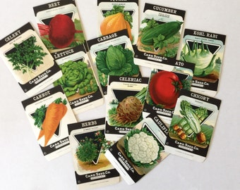 Vintage Seed Package Vegetable Herb Lithograph Packets set of 3