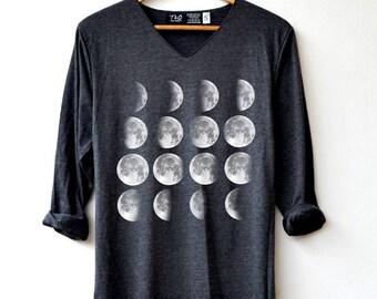Moon Phase Shirt - Moon Shirt Moon night T-Shirt Long Sleeve High Quality Graphic T-Shirts Unisex