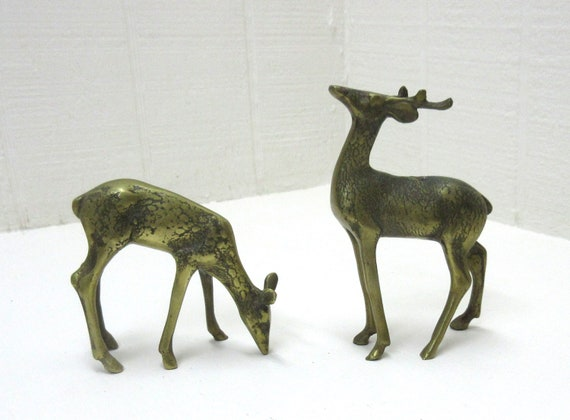Vintage Brass Deer Figurines For Home Decor Display