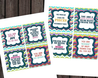 teacher or employee appreciation candy tags, 28 different candy tag sayings, candy awards, printable, instant download at purchase, square
