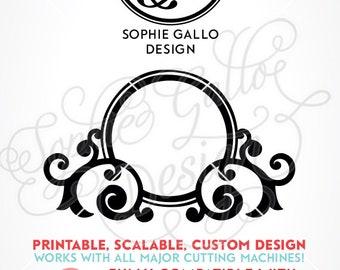 Flourish Monogram Name Frame SVG, DXF PNG digital download files Silhouette, Cricut, vector graphics Vinyl Cutting Machines, Screen Printing