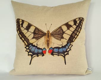Swallowtail Butterfly Cushion Cover, British Butterflies, British Garden, black and blue butterfly
