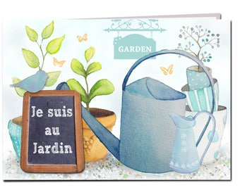 Greeting card romantic double original - the bird and watering the garden - FSC paper, made in Provence, France