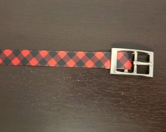 """3/4"""" Red and Black Plaid Dog Collar"""