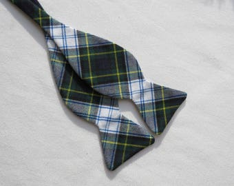 Mens Self Tie Bow Tie, Navy and White Freestyle Bow Tie,  Dress Gordon Tartan Self Tie Bow Tie, Gordon Tie, Business Man Tie