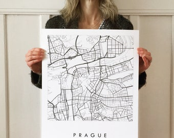 PRAGUE Map Street Map CZECH REPUBLIC City Map Drawing Black and White (Art Print) Wedding Anniversary Gift Wall Decor