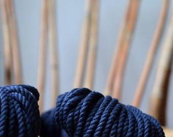 Marine, Macrame cord, cotton rope, macrame rope, cotton cord 5 mm, macrame cord, 5mm cotton twisted rope, cotton rope macrame, diy rope