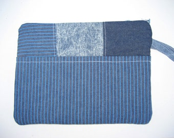 e-reader bag , zippered pouch , denim pouch padded pouch , Nook , Kindle pouch , wristlet , Mobile Accessories