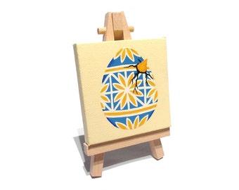 Hatching Pysanka Egg miniature painting - blue and yellow original acrylic pysanky art on mini canvas with easel, Ukraine style artwork