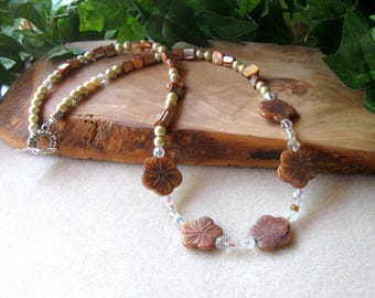 Mother of Pearl and Glass Beaded Necklace, Carved MOP Flower Beads, Gemstone Beaded Necklace, Artisan Jewelry, Neutral Colors, MOP, Pewter
